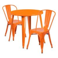 Flash Furniture 3-Piece 30-Inch Round Metal Table and Stackable Bistro Chairs Set in Orange