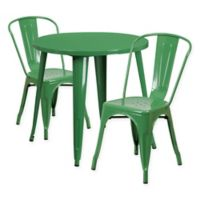 Flash Furniture 3-Piece 30-Inch Round Metal Table and Stackable Bistro Chairs Set in Green