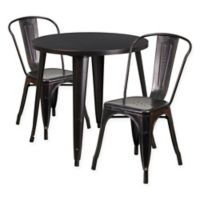 Flash Furniture 3-Piece 30-Inch Round Metal Table and Stackable Bistro Chairs Set in Black/Gold