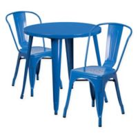 Flash Furniture 3-Piece 30-Inch Round Metal Table and Stackable Bistro Chairs Set in Blue