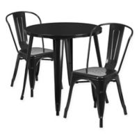 Flash Furniture 3-Piece 30-Inch Round Metal Table and Stackable Bistro Chairs Set in Black
