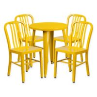 Flash Furniture 5-Piece 24-Inch Round Metal Table and Chairs Set in Yellow