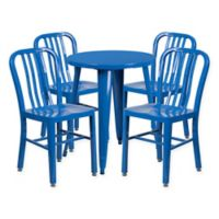 Flash Furniture 5-Piece 24-Inch Round Metal Table and Chairs Set in Blue