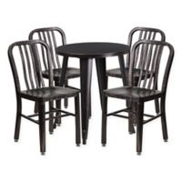 Flash Furniture 5-Piece 24-Inch Round Metal Table and Chairs Set in Black/Gold