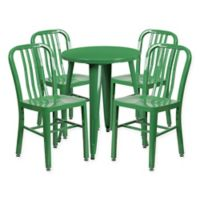 Flash Furniture 5-Piece 24-Inch Round Metal Table and Chairs Set in Green