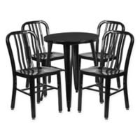Flash Furniture 5-Piece 24-Inch Round Metal Table and Chairs Set in Black
