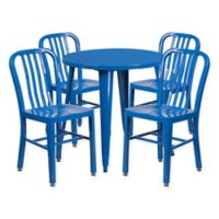 Flash Furniture 5-Piece 30-Inch Round Metal Table and Chairs Set in Blue