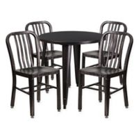 Flash Furniture 5-Piece 30-Inch Round Metal Table and Chairs Set in Black/Gold