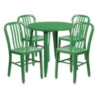 Flash Furniture 5-Piece 30-Inch Round Metal Table and Chairs Set in Green