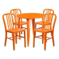 Flash Furniture 5-Piece 30-Inch Round Metal Table and Chairs Set in Orange