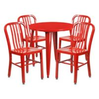 Flash Furniture 5-Piece 30-Inch Round Metal Table and Chairs Set in Red
