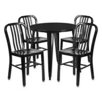 Flash Furniture 5-Piece 30-Inch Round Metal Table and Chairs Set in Black