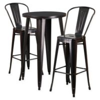 Flash Furniture 3-Piece Round Metal Bar Table and Stools Set in Black/Gold
