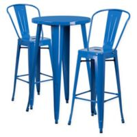 Flash Furniture 3-Piece Round Metal Bar Table and Stools Set in Blue