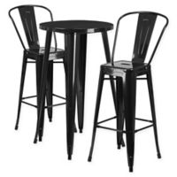 Flash Furniture 3-Piece Round Metal Bar Table and Stools Set in Black