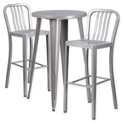 Flash Furniture 3 Piece 24 Inch Round Metal Bar Table And Bar Stools Set