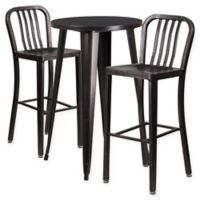 Flash Furniture 3-Piece 24-Inch Round Metal Bar Table and Bar Stools Set in Black/Gold