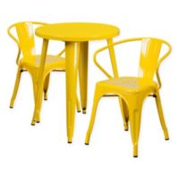 Flash Furniture 3-Piece Round Metal Table and Stackable Arm Chairs Set in Yellow