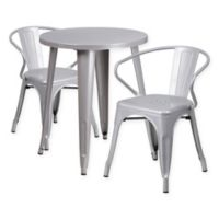 Flash Furniture 3-Piece Round Metal Table and Stackable Arm Chairs Set in Silver