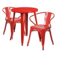 Flash Furniture 3-Piece Round Metal Table and Stackable Arm Chairs Set in Red