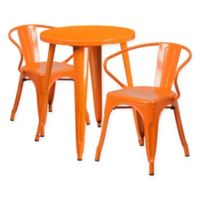 Flash Furniture 3-Piece Round Metal Table and Stackable Arm Chairs Set in Orange