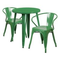 Flash Furniture 3-Piece Round Metal Table and Stackable Arm Chairs Set in Green