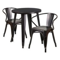Flash Furniture 3-Piece Round Metal Table and Stackable Arm Chairs Set in Black/Gold