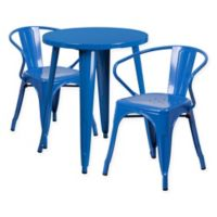 Flash Furniture 3-Piece Round Metal Table and Stackable Arm Chairs Set in Blue