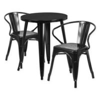 Flash Furniture 3-Piece Round Metal Table and Stackable Arm Chairs Set in Black