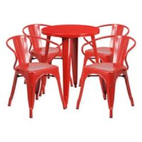 Flash Furniture 5-Piece Round Metal Table and Stackable Chairs Set in Red