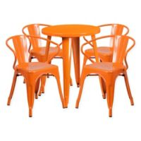 Flash Furniture 5-Piece Round Metal Table and Stackable Chairs Set in Orange