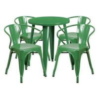 Flash Furniture 5-Piece Round Metal Table and Stackable Chairs Set in Green