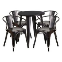 Flash Furniture 5-Piece Round Metal Table and Stackable Chairs Set in Black/Gold
