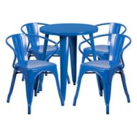 Flash Furniture 5-Piece Round Metal Table and Stackable Chairs Set in Blue