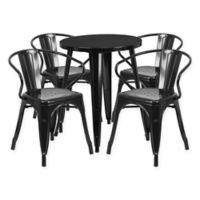 Flash Furniture 5-Piece Round Metal Table and Stackable Chairs Set in Black