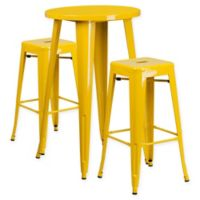Flash Furniture 3-Piece Round Metal Bar Table and Stackable Stools Set in Yellow