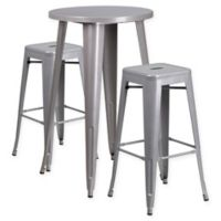 Flash Furniture 3-Piece Round Metal Bar Table and Stackable Stools Set in Silver