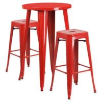 Flash Furniture 3-Piece Round Metal Bar Table and Stackable Stools Set in Red