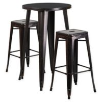 Flash Furniture 3-Piece Round Metal Bar Table and Stackable Stools Set in Black/Gold