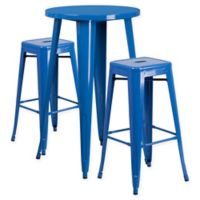 Flash Furniture 3-Piece Round Metal Bar Table and Stackable Stools Set in Blue