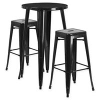 Flash Furniture 3-Piece Round Metal Bar Table and Stackable Stools Set in Black