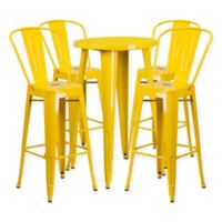 Flash Furniture 5-Piece Round Metal Bar Table and Bar Stool Set in Yellow