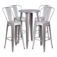 Flash Furniture 5-Piece Round Metal Bar Table and Bar Stool Set in Silver