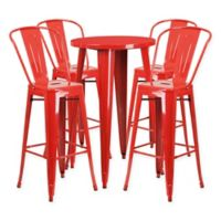 Flash Furniture 5-Piece Round Metal Bar Table and Bar Stool Set in Red