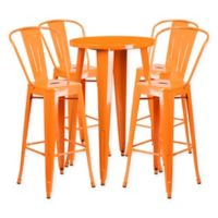 Flash Furniture 5-Piece Round Metal Bar Table and Bar Stool Set in Orange