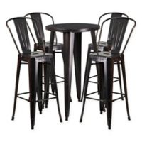 Flash Furniture 5-Piece Round Metal Bar Table and Bar Stool Set in Black/Gold