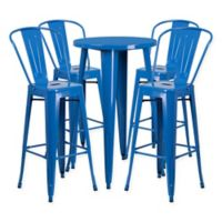Flash Furniture 5-Piece Round Metal Bar Table and Bar Stool Set in Blue