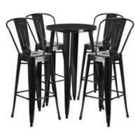 Flash Furniture 5-Piece Round Metal Bar Table and Bar Stool Set in Black