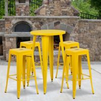 Flash Furniture 5-Piece Round Metal Bar Table and Stackable Bar Stool Set in Yellow