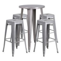Flash Furniture 5-Piece Round Metal Bar Table and Stackable Bar Stool Set in Silver